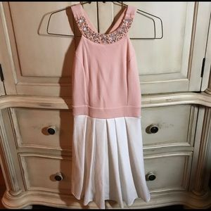 Francesca's Pink and White Dress Large